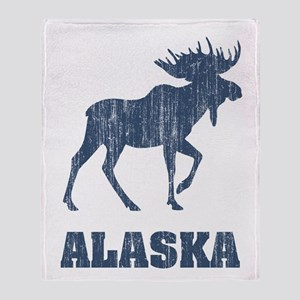 Retro Alaska Moose Throw Blanket