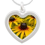 Black Eyed Susan Flowers Silver Heart Necklace