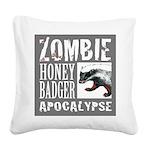 Zombie Honey Badger Square Canvas Pillow