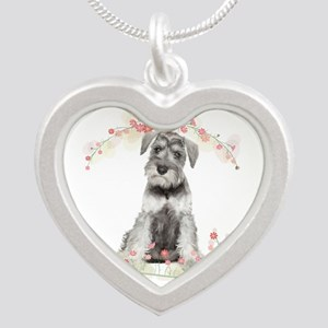 Schnauzer Flowers Silver Heart Necklace