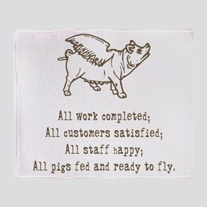 pigs ready to fly Throw Blanket