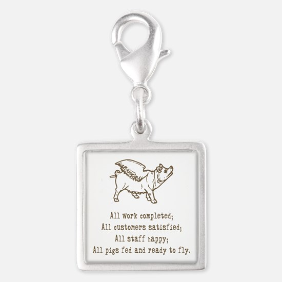 pigs ready to fly Silver Square Charm