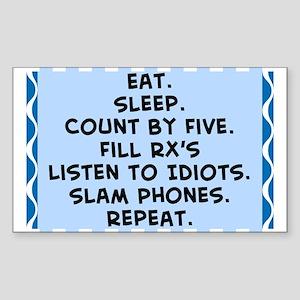 Pharmacist eat sleep blanket Sticker (Rectangl