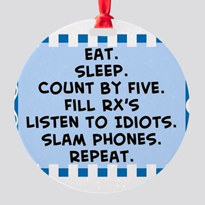 Pharmacist eat sleep blanket Round Ornament