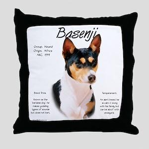 Basenji (tricolor) Throw Pillow
