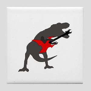 T-rex Playing the Guitar Tile Coaster