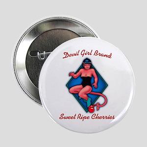 Devil Girl Cherries Button