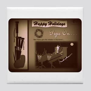 Happy Holidays (B/W Retro Film) Tile Coaster