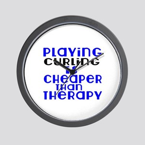 Curling Is Cheaper Than Therapy Wall Clock