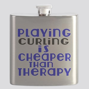 Curling Is Cheaper Than Therapy Flask