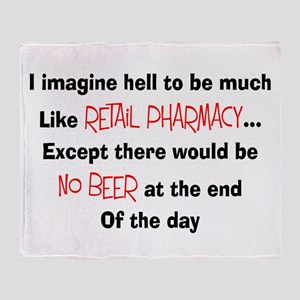 Retail pharmacy hell no beer Throw Blanket