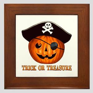 Trick OR Treasure Pirate Framed Tile