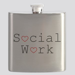 Social Work Hearts Flask