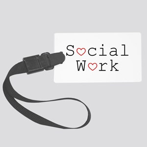 Social Work Hearts Large Luggage Tag