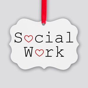 Social Work Hearts Picture Ornament
