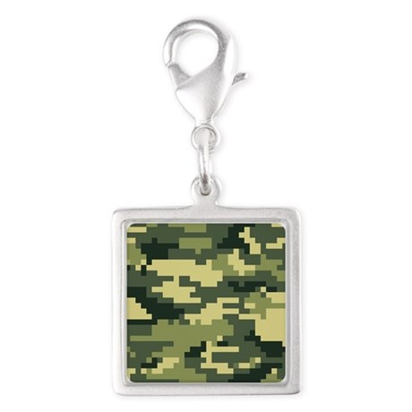 8 Bit Pixel Woodland Camouflage Silver Square Char