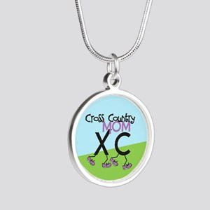 Cross Country Mom Silver Round Necklace