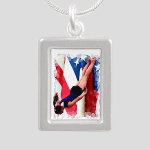 Trampoline Gymnast Silver Portrait Necklace