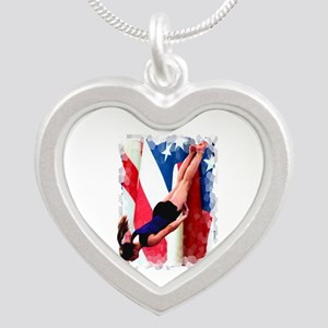 Trampoline Gymnast Silver Heart Necklace