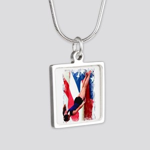 Trampoline Gymnast Silver Square Necklace