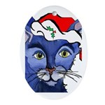 Cat 5 Celebrates Christmouse Oval Ornament