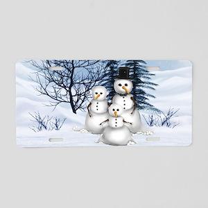 Snowman Family Aluminum License Plate