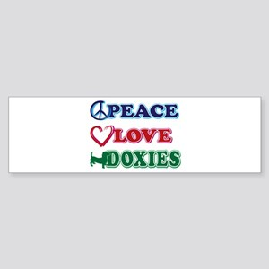 Peace Love Doxies/Dachshund Sticker (Bumper)