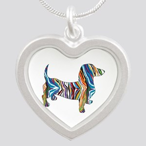 Psychedelic Doxie Dachshund Silver Heart Necklace