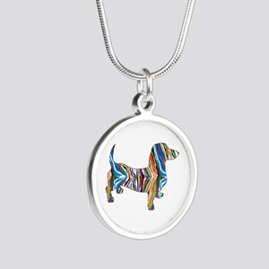 Psychedelic Doxie Dachshund Silver Round Necklace