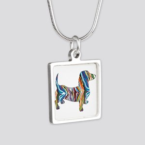 Psychedelic Doxie Dachshund Silver Square Necklace