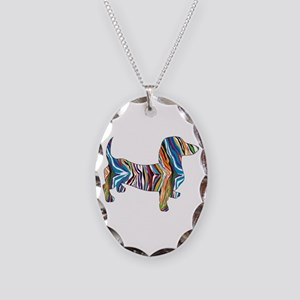 Psychedelic Doxie Dachshund Necklace Oval Charm