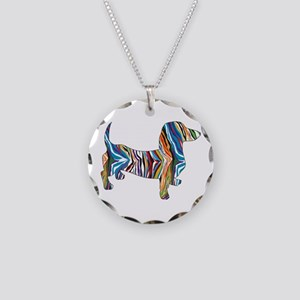 Psychedelic Doxie Dachshund Necklace Circle Charm