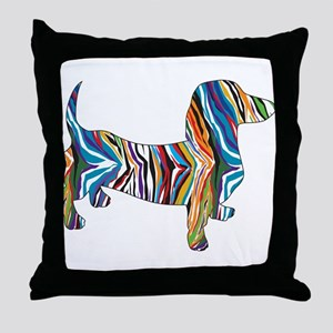 Psychedelic Doxie Dachshund Throw Pillow