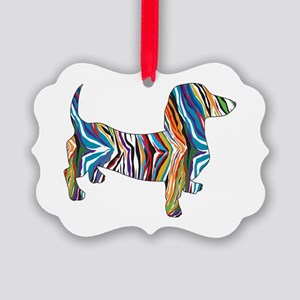 Psychedelic Doxie Dachshund Picture Ornament