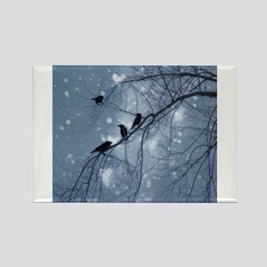 Hearts And Snow Rectangle Magnet