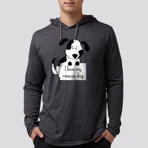I love my rescue Dog Pet Humor Q Mens Hooded Shirt