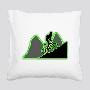 Mountain Biking Square Canvas Pillow