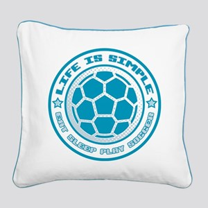 Eat, Sleep, Play Soccer Square Canvas Pillow