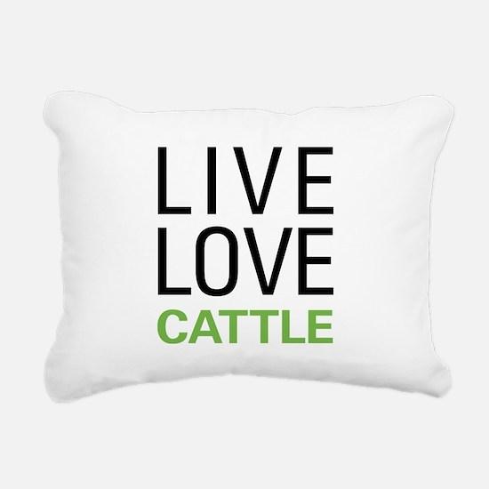 Live Love Cattle Rectangular Canvas Pillow