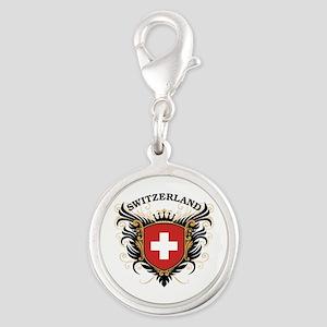 Switzerland Silver Round Charm