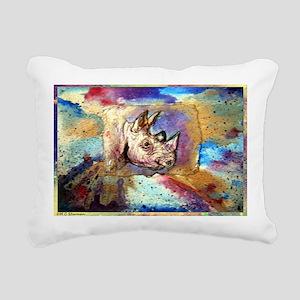 Rhino! wildlife art! Rectangular Canvas Pillow