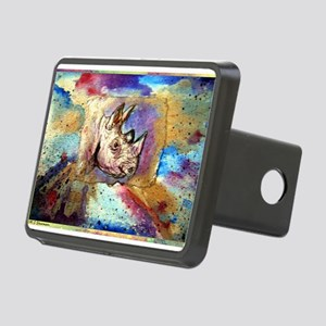 Rhino! wildlife art! Rectangular Hitch Cover