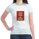 Keep Calm and Fry Bacon Jr. Ringer T-Shirt
