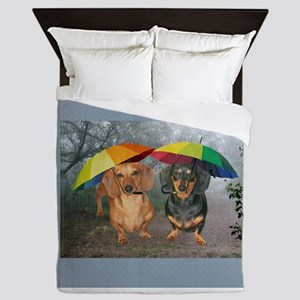 rain umbrella dogs12x16 copy.jpg Queen Duvet