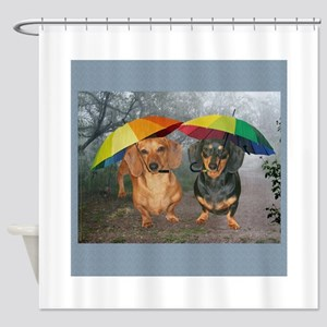 rain umbrella dogs12x16 copy Shower Curtain