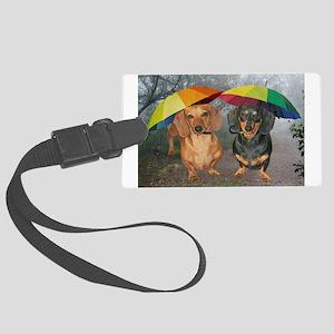 rain umbrella dogs12x16 copy Large Luggage Tag