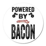 Powered by Bacon Round Car Magnet