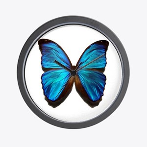 blue butterfly two Wall Clock