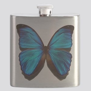 blue butterfly two Flask