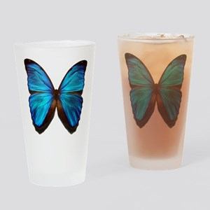 blue butterfly two Drinking Glass